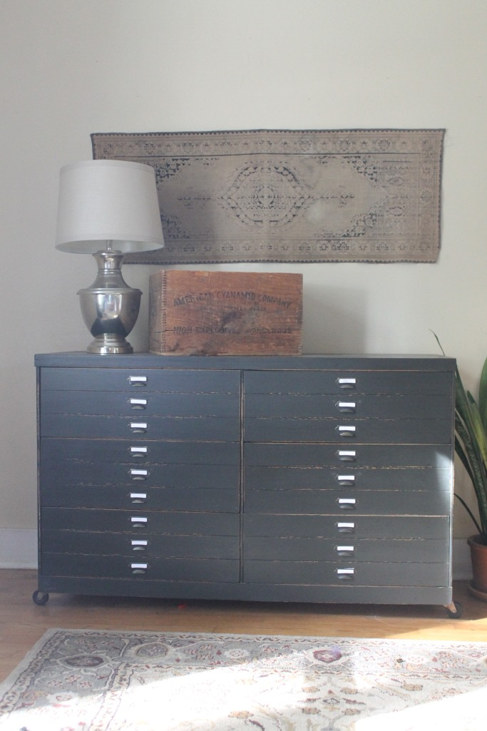 Revamped Dresser with Faux Printer's Drawers